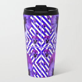 DECORATIVE LILAC PURPLE PANSIES  FLOWERS Travel Mug