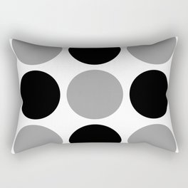 Mid Century Modern Polka Dot Pattern 9 Black and Gray Rectangular Pillow