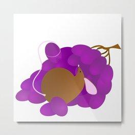 Mouse & Grapes Metal Print