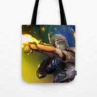 boba fett Tote Bags featuring Boba Fett by Vincent Vernacatola