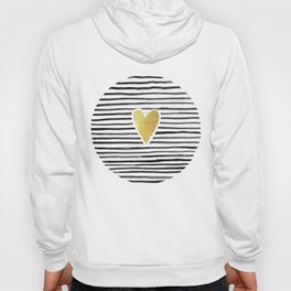 Gold Heart And Black ink abstract horizontal stripes background.  Hoody