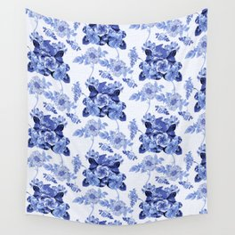 Blue Botanical Toile Wall Tapestry