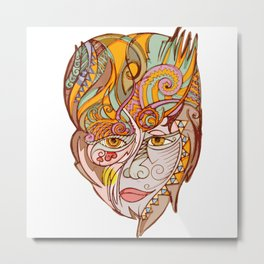 Girl with yellow eyes Metal Print