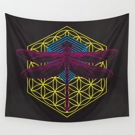 Dragonfly Flower of Life Wall Tapestry