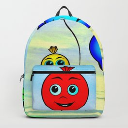 Happy colorful balloons flying in the sky Backpack