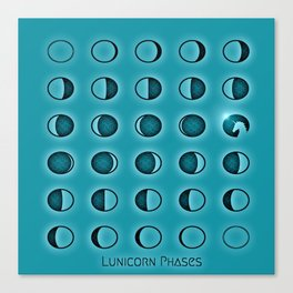 Moon Phases with Unicorn (Lunicorn Phases) Canvas Print