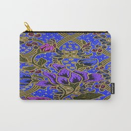Neon Blue Purple Floral Pattern Leafs Carry-All Pouch