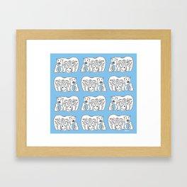 Polar Bears Blue and White Pattern Framed Art Print