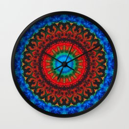 Inner Peace - Kaliedescope Mandala By Sharon Cummings Wall Clock