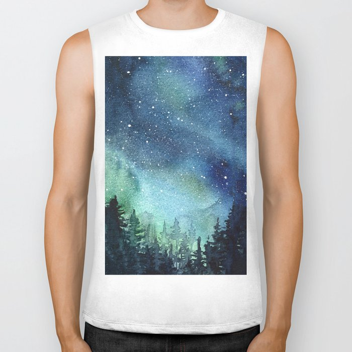 Galaxy Watercolor Aurora Borealis Painting Biker Tank