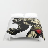 street fighter Duvet Covers featuring Bear Wrestler - Street Fighter by Peter Forsman