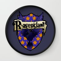 ravenclaw Wall Clocks featuring Ravenclaw Crest by AriesNamarie