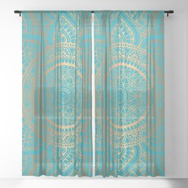 Burnt Gold Teal Mandala Sheer Curtain