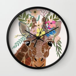 Giraffe with flowers on head Wall Clock