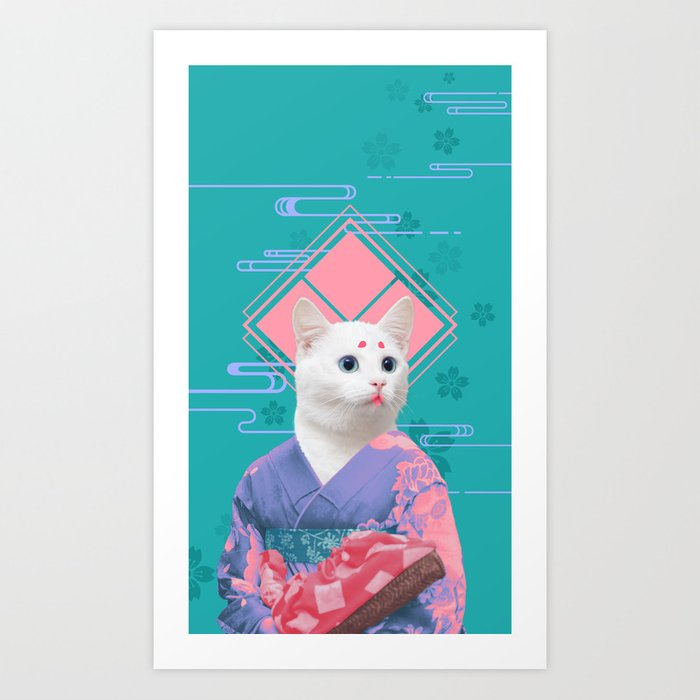 Geisha cat 02 Art Print