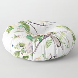 Chickadees and Dogwood Flowers Floor Pillow