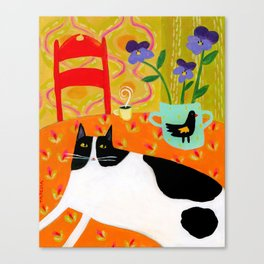 Tuxedo Cat on the Table with Black Bird planter Canvas Print