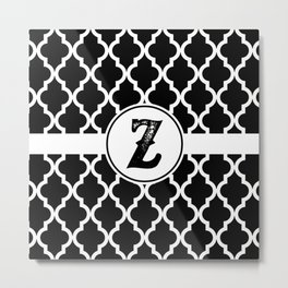 Black Monogram: Letter Z Metal Print