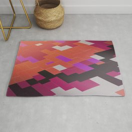 Colored Red &Black  blocks Futuristic wall art  Rug
