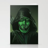 green arrow Stationery Cards featuring Arrow by Digital Sketch