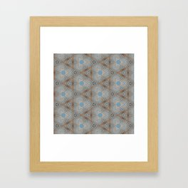 Beige and Blue Contemporary Tribal Pattern Framed Art Print