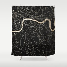 London Black on Gold Street Map II Shower Curtain