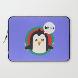 Penguin with cutlery and fish Laptop Sleeve