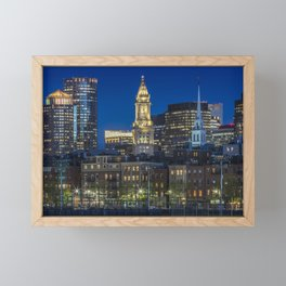 BOSTON Evening Skyline of North End & Financial District Framed Mini Art Print