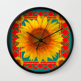 DECORATIVE RED-TEAL  DECO YELLOW SUNFLOWERS Wall Clock