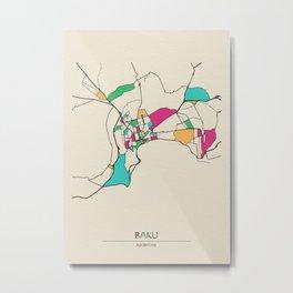 Colorful City Maps: Baku, Azerbaijan Metal Print