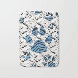 Blue Tiger Print Animal Tracks Bath Mat