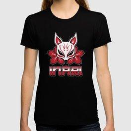 Inari Cute Red Fox Japanese Shrine Mask T-shirt