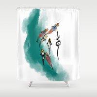 koi Shower Curtains featuring Koi by Det Tidkun