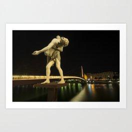 Lyon Bridge Statue by night Art Print