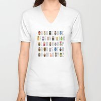 muppet V-neck T-shirts featuring Pixel Muppet Show Alphabet by PixelPower