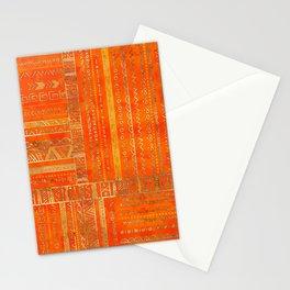 Tribal Ethnic pattern gold on bright orange Stationery Cards