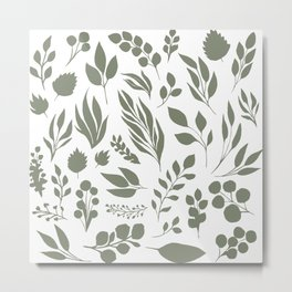 Elegant floral pattern, light green leaf inked silhouettes set, vector isolated illustration Metal Print