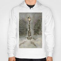narnia Hoodies featuring Lamp Post in Blue by Jen Hallbrown
