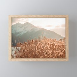 Golden Wheat Mountain // Yellow Heads of Grain Blurry Scenic Peak Framed Mini Art Print