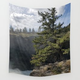Beside The Falls, Beautiful Old Pine Tree Stands Sentry Beside A Watefall Wall Tapestry