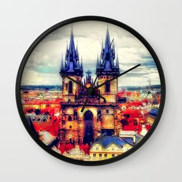 Prague Church Of Our Lady Before Tyn Watercolor Wall Clock