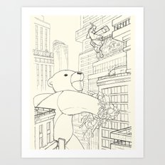 teddy bear vs rabbit Art Print