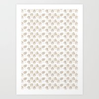 Hey pattern with girls Art Print