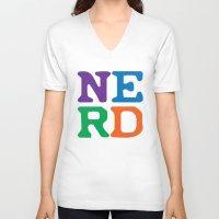 nerd V-neck T-shirts featuring Nerd by Jenna Allensworth