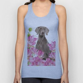 Weimaraner Lotos Flowers Unisex Tank Top