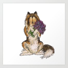 Collie with Flowers Art Print