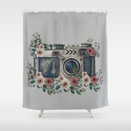 Camera with Summer Flowers Shower Curtain