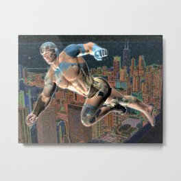 Flying Man over Neon City Metal Print
