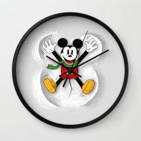 mickey Wall Clocks featuring Snow Mickey by Florent Bodart / Speakerine