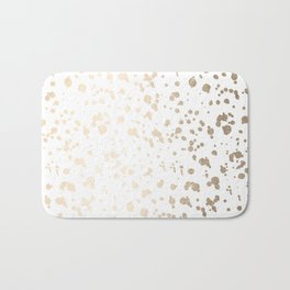 Luxe Gold Painted Dots on White Bath Mat